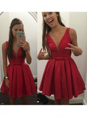 A-Line Princess Sleeveless V-neck Bowknot Satin Short Homecoming Dresses