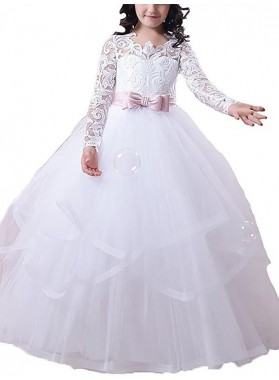 Ball Gown Jewel Long Sleeves Lace Floor-Length Tulle First Communion Dresses / Flower Girl Dresses 2020COMM-7294