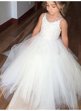Ball Gown Jewel Sleeveless Lace Floor-Length Tulle First Communion Dresses / Flower Girl Dresses