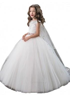 Ball Gown Jewel Sleeveless Beading Floor-Length Tulle First Communion Dresses / Flower Girl Dresses