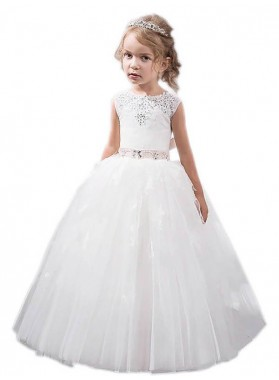 Ball Gown Jewel Sleeveless Crystal Floor-Length Tulle First Communion Dresses / Flower Girl Dresses