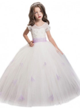 Ball Gown Jewel Short Sleeves Sash/Ribbon/Belt Floor-Length Tulle First Communion Dresses / Flower Girl Dresses