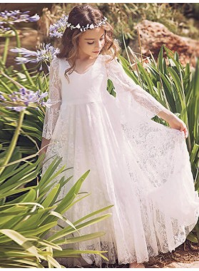 A-Line/Princess Long Sleeves V-neck Lace Floor-Length First Communion Dresses / Flower Girl Dresses