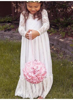 A-Line/Princess Long Sleeves Jewel Bowknot Lace Floor-Length First Communion Dresses / Flower Girl Dresses