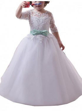 Ball Gown Jewel 1/2 Sleeves Lace Floor-Length Tulle First Communion Dresses / Flower Girl Dresses 2019COMM-7348