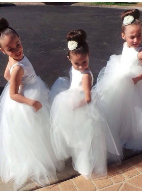 Ball Gown Jewel Sleeveless Floor-Length Tulle First Communion Dresses / Flower Girl Dresses