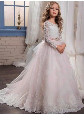 Ball Gown Jewel Long Sleeves Lace Floor-Length Tulle First Communion Dresses / Flower Girl Dresses