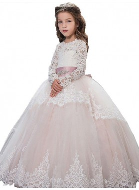 Ball Gown Jewel Long Sleeves Lace Floor-Length Tulle First Communion Dresses / Flower Girl Dresses 2020COMM-7320