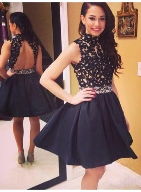 A-Line Princess Sleeveless High Neck Taffeta Lace Short Homecoming Dresses