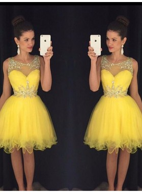 A-Line Princess Scoop Sleeveless Beading Tulle Short Homecoming Dresses