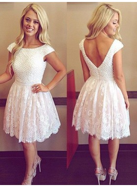 A-Line Princess Scoop Short Sleeves Pearls Lace Short Homecoming Dresses