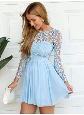 A-Line Princess Scoop Long Sleeves Lace Short Chiffon Homecoming Dresses