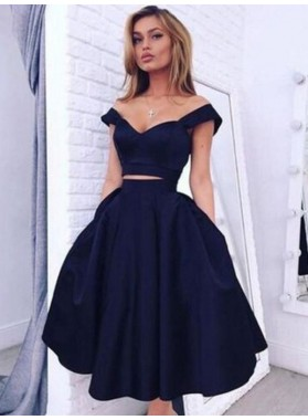 A-Line Princess Off-the-Shoulder Sleeveless Knee-Length Taffeta Two Piece Homecoming Dresses