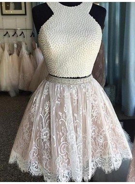 A-Line Princess Sleeveless Halter Pearls Short Lace Two Piece Homecoming Dresses