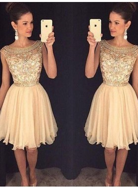 A-Line Princess Scoop Sleeveless Short Beading Chiffon Homecoming Dresses