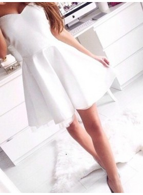 A-Line Princess Sleeveless Sweetheart Short Satin Homecoming Dresses