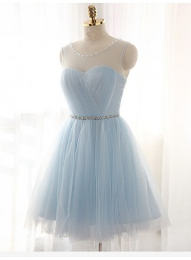 A-Line Princess Scoop Beading Sleeveless Short Tulle Dresses
