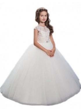 Ball Gown Scoop Sleeveless Beading Floor-Length Tulle First Communion Dresses / Flower Girl Dresses