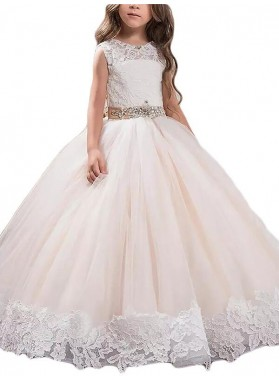 Ball Gown Scoop Sleeveless Lace Floor-Length Tulle First Communion Dresses / Flower Girl Dresses 2020COMM-7296