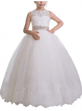 Ball Gown Scoop Sleeveless Sash/Ribbon/Belt Floor-Length Tulle First Communion Dresses / Flower Girl Dresses