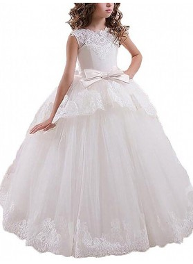 Ball Gown Sleeveless Scoop Sash/Ribbon/Belt Floor-Length Tulle First Communion Dresses / Flower Girl Dresses 2020COMM-7303