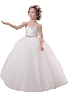 Ball Gown Sleeveless Spaghetti Straps Sash/Ribbon/Belt Floor-Length Tulle First Communion Dresses / Flower Girl Dresses