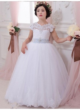 Ball Gown Sleeveless Scoop Sash/Ribbon/Belt Floor-Length Tulle First Communion Dresses / Flower Girl Dresses