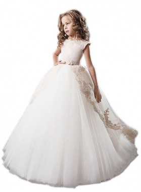 Ball Gown Scoop Tulle Applique Floor-Length Sleeveless First Communion Dresses / Flower Girl Dresses