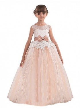 Ball Gown Scoop Sleeveless Sash/Ribbon/Belt Tulle Floor-Length First Communion Dresses / Flower Girl Dresses