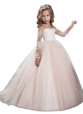 Ball Gown Scoop Long Sleeves Floor-Length Tulle First Communion Dresses / Flower Girl Dresses 2020COMM-7293