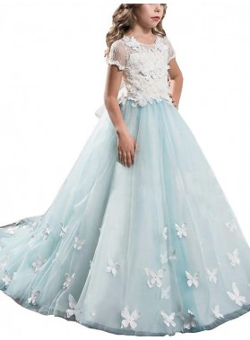 A-line/Princess Scoop Short Sleeves Lace Tulle Floor-Length First Communion Dresses / Flower Girl Dresses