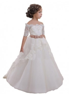 Ball Gown Off-the-Shoulder Short Sleeves Sash/Ribbon/Belt Tulle First Communion Dresses / Flower Girl Dresses