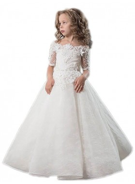 Ball Gown Short Sleeves Off-the-Shoulder Applique Satin Floor-Length First Communion Dresses / Flower Girl Dresses