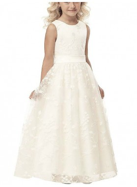 A-line/Princess Scoop Sleeveless Applique Tulle Floor-Length First Communion Dresses / Flower Girl Dresses