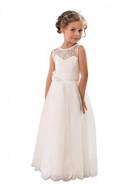A-line/Princess Scoop Sleeveless Tulle Floor-Length First Communion Dresses / Flower Girl Dresses