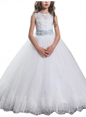 Ball Gown Scoop Sleeveless Applique Floor-Length Tulle First Communion Dresses / Flower Girl Dresses
