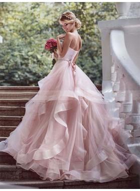Tiers Ruffle Sweetheart Blushing Pink Sleeveless Organza Backless Wedding Dresses