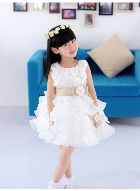 A-line/Princess Scoop Sleeveless Hand-made Flower Short Organza First Communion Dresses / Flower Girl Dresses