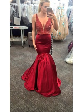 Charming Trumpet/Mermaid Burgundy Satin Sweetheart 2019 Prom Dresses