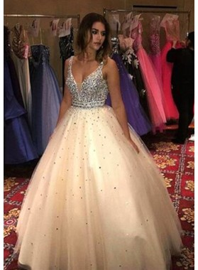 Newly Ball Gown Champagne Tulle V Neck 2021 Prom Dresses