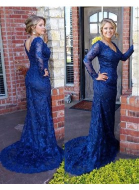 Charming Trumpet/Mermaid Long Sleeves Lace Navy Blue 2019 Prom Dresses