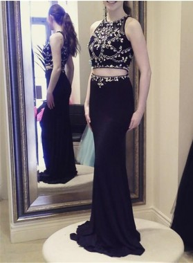 2019 Newly Sheath Two Pieces Black Beaded Prom Dresses