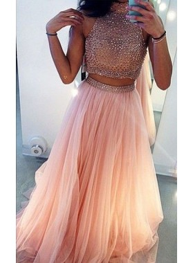 Newly A-Line/Princess Blushing Pink Two Pieces Tulle 2019 Prom Dresses