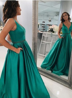 New Arrival A-Line/Princess Teal 2019 Satin Prom Dresses