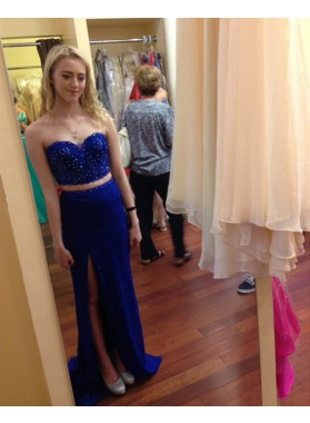 Sheath Royal Blue Sweetheart Side Slit Two Pieces 2019 Prom Dresses