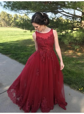 Elegant A-Line/Princess Tulle Burgundy Prom Dresses With Appliques 2019