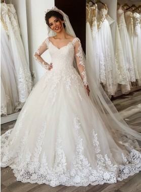 2021 Newest A Line Long Sleeves Sweetheart Tulle Over Lace Wedding Dresses