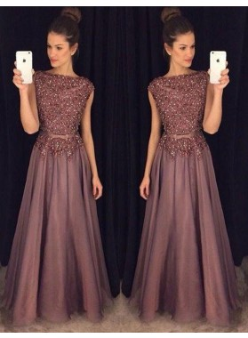 A-Line/Princess Cheap Tulle Beaded 2019 Prom Dresses