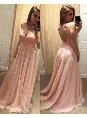 Cheap A-Line/Princess Chiffon Pearl Pink Backless Sweetheart 2019 Prom Dresses