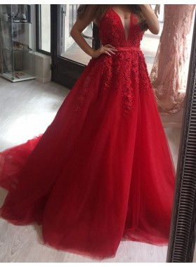 2019 A-Line/Princess Red Tulle Sweetheart Prom Dresses With Appliques